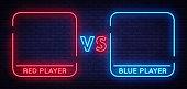 Versus neon sign. Neon symbol, icon, logo design template confrontation. Light banner, bright night advertising. Vector illustration.