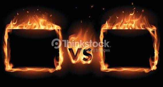 Versus Screen With Fire Frames Vector Art | Thinkstock