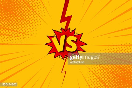 Versus VS letters fight backgrounds in flat comics style design with halftone, lightning. Vector : Vector Art