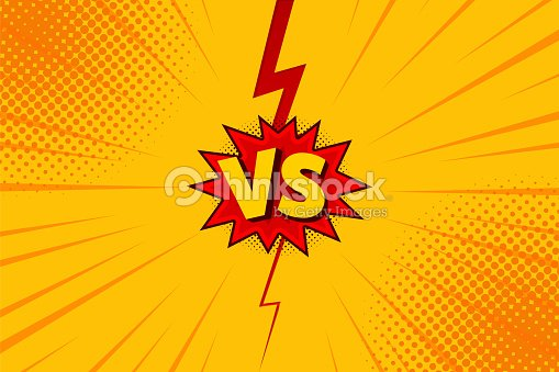Versus VS letters fight backgrounds in flat comics style design with halftone, lightning. Vector : stock vector
