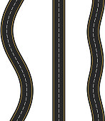 Three vertcal seamless roads on white background, vector eps10 illustration