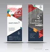 Vertical banner design, brochure, flyer, vertical poster template, vector x-banner and street business flag-banner.