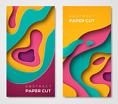 Vertical banners with 3D abstract background with paper cut shapes. Vector design layout for business presentations, flyers, posters and invitations. Colorful carving art - blue, yellow and violet