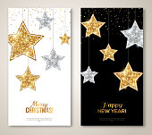 Merry Christmas and Happy New Year Vertical Banners with Silver and Gold Stars. Glitter Background. Vector illustration. Sequins Pattern. Glowing Invitation Template.