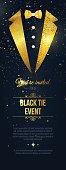 Vertical Black Tie Event Invitation. Businessmen banner. Elegant black  card with golden sparkles.  Black banner with businessman suit. Vector illustration