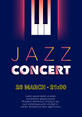 Vertical blue music jazz background with piano keys and text.
