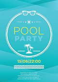 Vertical blue pool party background with graphic elements and text.