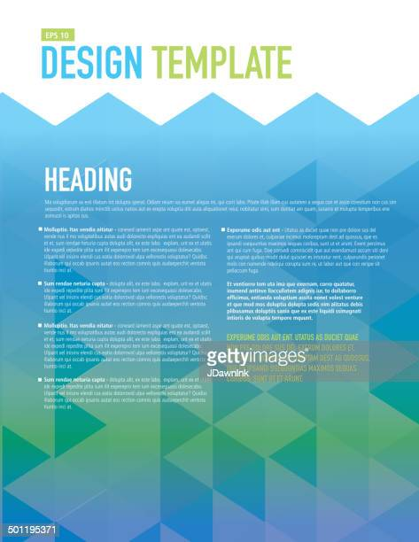 Vertical Design layout template polygonal blue and green sample flyer