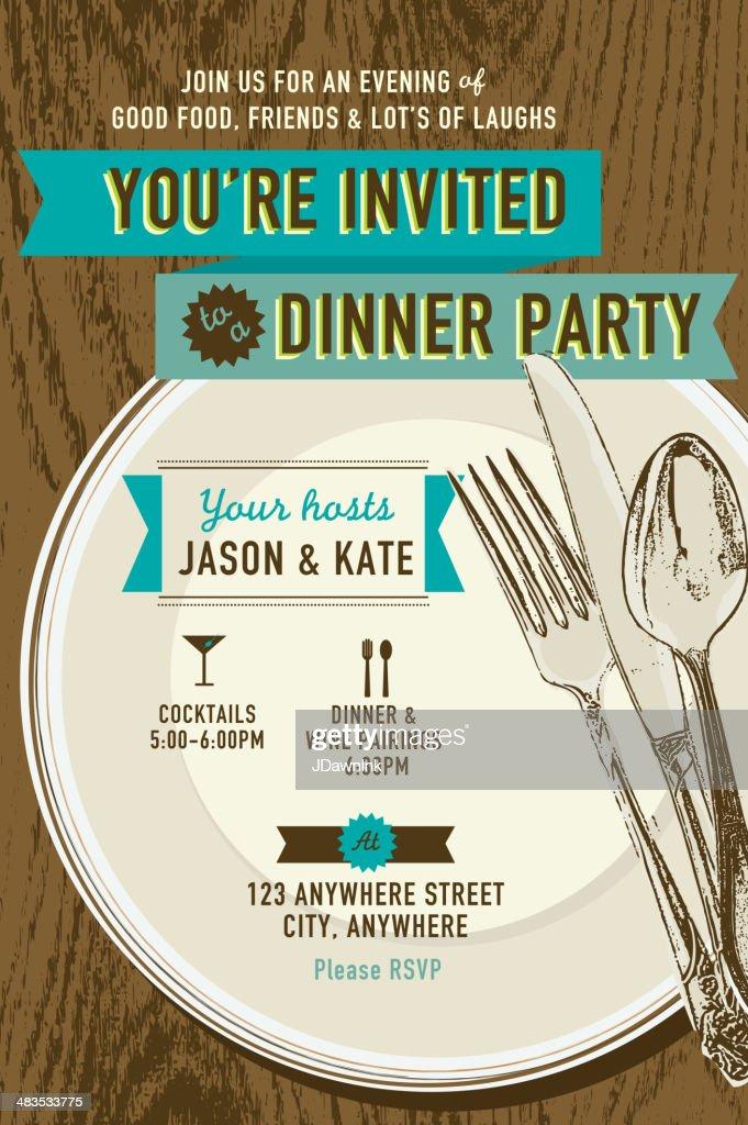 Elegant Dinner Party Invitation Design Template Placesetting On