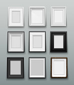 Vertical set frame for photos or paintings on wall