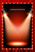 vertical frame with lights in the background of a red curtain. Vector illustration