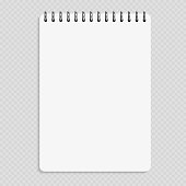 Vertical notebook - clean notepad mockup isolated on transparent background. Note page and notebook, notepad realistic illustration