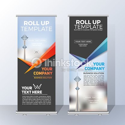 Vertical Roll Up Banner Template Design For Announce And