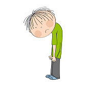 Very sad and depressed little boy, standing with his back bent down looking lonely - original hand drawn illustration
