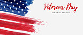 USA Veterans day background. Vector abstract grunge brushed flag with text. Template for horizontal banner.