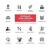 Veterinary clinic services - vector icons, pictograms set. Examination, vaccination, castrating, diagnostics, dentistry, ophthalmology, surgery, dermatology, trimming, pharmacy, sale, labor induction