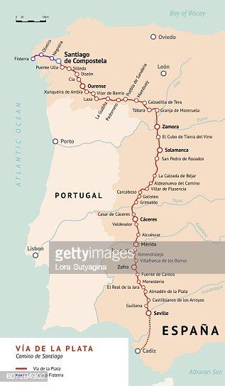 Camino Walk Spain Map.Via De La Plata Map Camino De Santiago Spain Vector Art Thinkstock
