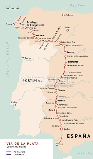 Camino Walk Spain Map.Via De La Plata Map Camino De Santiago Spain Vector Art Thinkstock