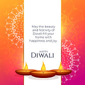 vibrant diwali greeting design with mandala decoration and diya