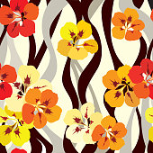 Floral seamless background with Indian cress flowers and wavy white and black lines. EPS10.