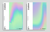 Set of trendy design templates with vibrant gradient holographic texture. Applicable for covers, brochures, placards, posters, flyers, presentations, banners, identity. Vector illustration. Eps10
