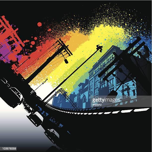 Vibrant rainbow city