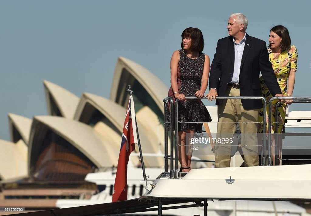U.S. Vice President Mike Pence (C) and his wife Karen (L) take a harbour cruise with New South Wales state Premier Gladys Berejiklian (R) on April 23, 2017 in Sydney, Australia. Pence is visiting Australia on a three-day official tour during which he is holding talks with high officials on bilateral and international issues.