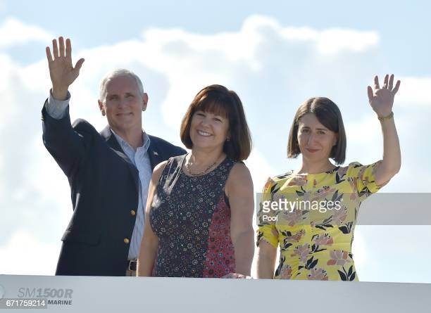 S Vice President Mike Pence and his wife Karen take a harbour cruise with New South Wales state Premier Gladys Berejiklian on April 23 2017 in Sydney...