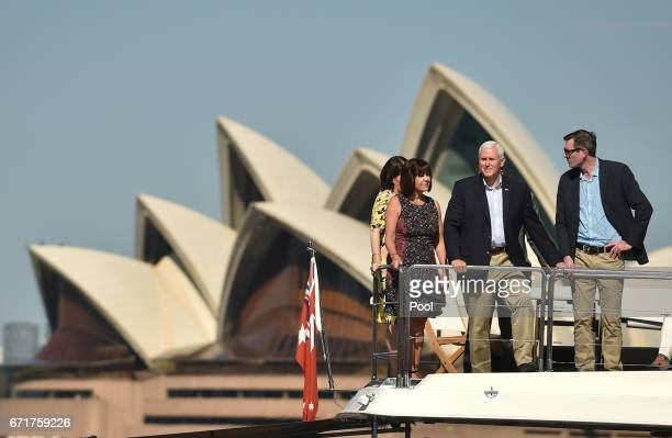 S Vice President Mike Pence and his wife Karen take a harbour cruise with New South Wales state Premier Gladys Berejiklian and New South Wales...