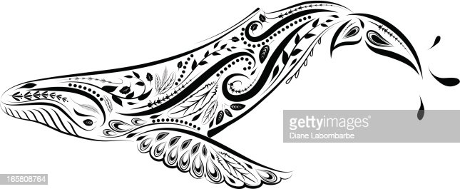 Victorian Calligraphy Style Whale Ornament Vector Art