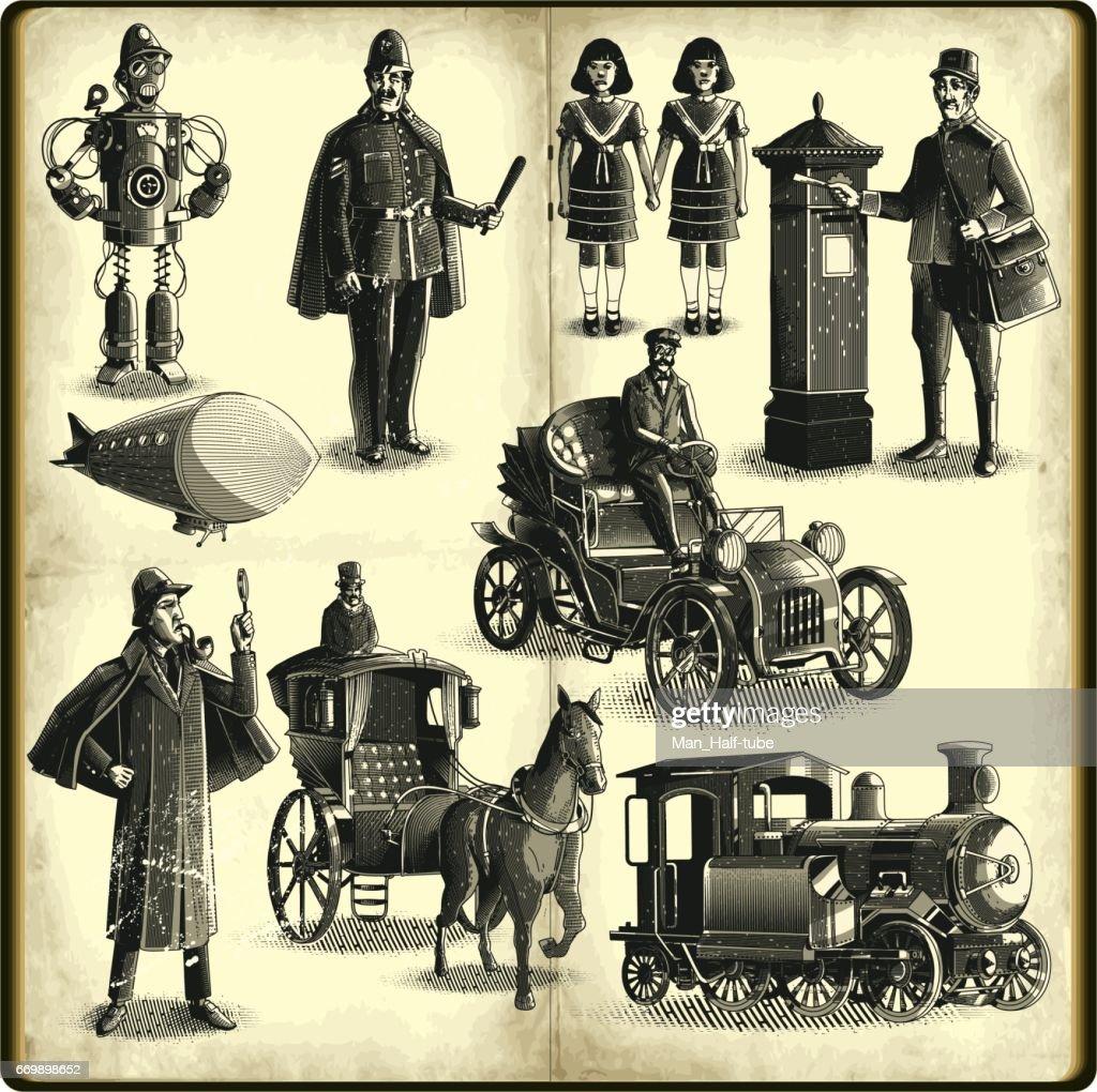 victorian era set vector art getty images