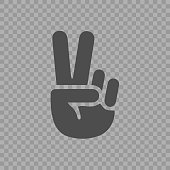 Victory sign icon. Simple peace gesture linear pictogram.