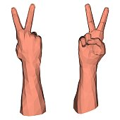 Victory symbol by two polygonal fingers of low poly hand for geometric gesturing of peace and success