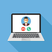 Video call on laptop screen. Laptop with incoming call, man profile picture and accept decline buttons. Modern flat design graphic elements. Creative concept. Vector illustration