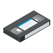 Video cassette  detailed isometric icon vector graphic illustration