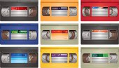 Group of video cassette vector illustrations, in different colours.