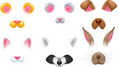 Video chat effects animal faces set. Selfiy filters. Cat, dog, raccoon, rabbit, mouse and teddy bear ears and noses.