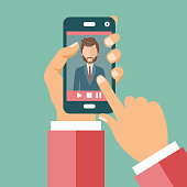 Video conference on line call concept. Hands holding smart phone with live video conversation on screen. Flat vector illustration