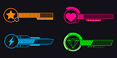Set of video game bars on a black background, Vector illustration