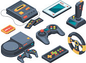 Video game console and different technical gadgets. Game console and play electronic arcade illustration vector