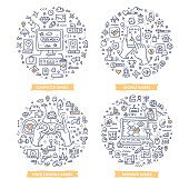 Doodle vector concepts of pc, mobile, browser and console video games. Playing games line art illustrations