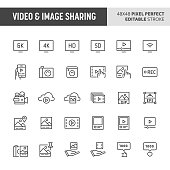30 thin line icons associated with video & image sharing. Symbols such as audio-video device and pictures are included in this set. 48x48 pixel perfect vector icon & editable vector.