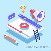 Video marketing concept banner.  Can use for web banner, infographics, hero images.Flat  isometric vector  illustration.