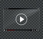Illustration of video player window on checkered background