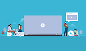 Flat design people and technology concept. Vector illustration for web banner, business presentation, advertising material.