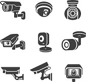 Video surveillance security cameras graphic icons pictograms set vector