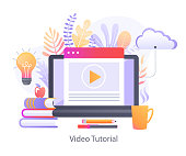 Video Tutorial for online education.Study and learning,training courses,specialization,distance e-learning,knowledge growth,conference and webinar,video services.Template For web design,banners, promo