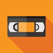 videotape icon with long shadow. flat style vector illustration