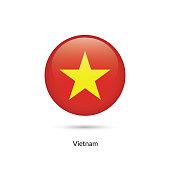 Vietnam flag - round glossy button. Vector Illustration.
