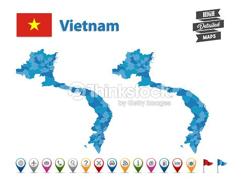 Vietnam High Detailed Map With Gps Icon Collection stock